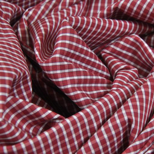 Хлопок стрейч рубашечный в мелкую красно-белую клетку