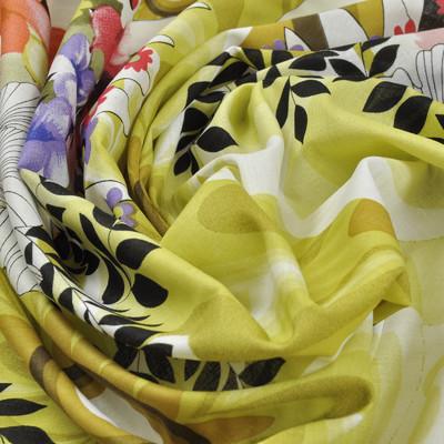 Хлопок блузочно-плательный белый с цветочкамии сиреневого, белого и желтого цветов