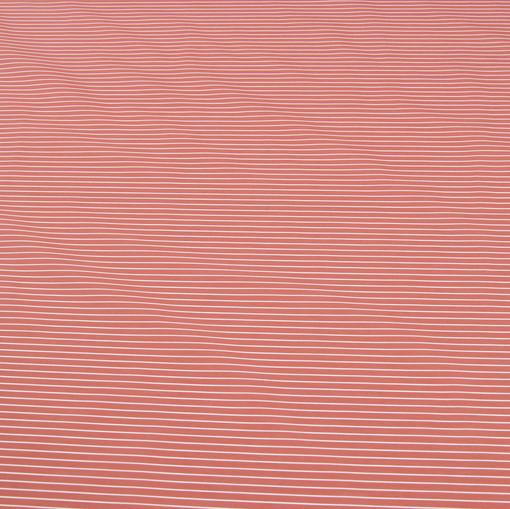 Ткань рубашечная коралловая в мелкую белую полоску