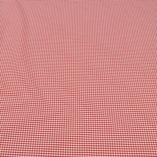 Ткань рубашечная хлопковая в мелкую красно-белую клетку