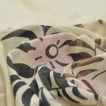 Батист бежевый хлопковый с коричневыми и розовыми цветами