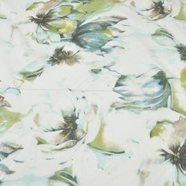 Белый батист в крупные цветы бирюзово салатового цвета