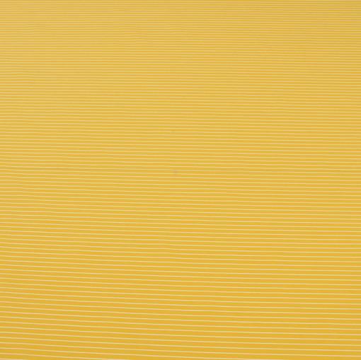 Ткань рубашечная желтая в белую полоску