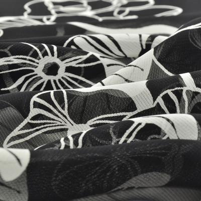 Вискоза жоржетная черного цвета в белый цветок