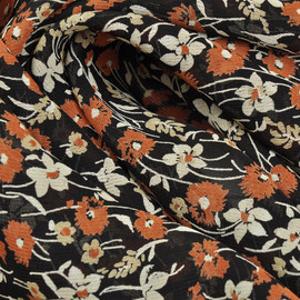 Вискоза жоржет черная в коричневые и белые цветочки