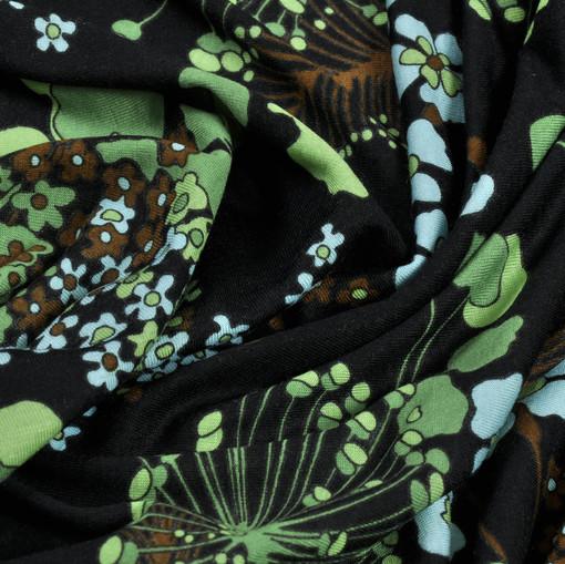 Вискоза-стрейч с мелким цветочным рисунком в зелено-голубых тонах
