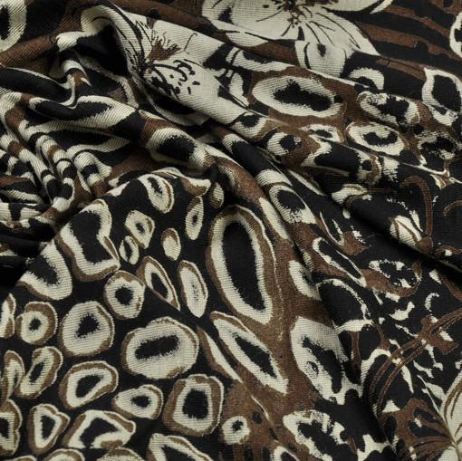 Вискоза-стрейч с цветочным рисунком сафари