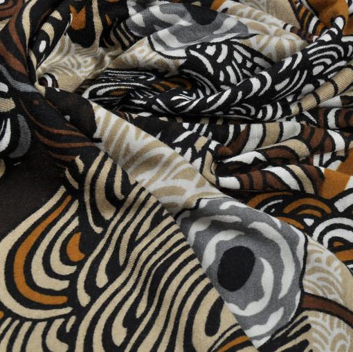 Вискоза стрейч с коричнево-охровым рисунком