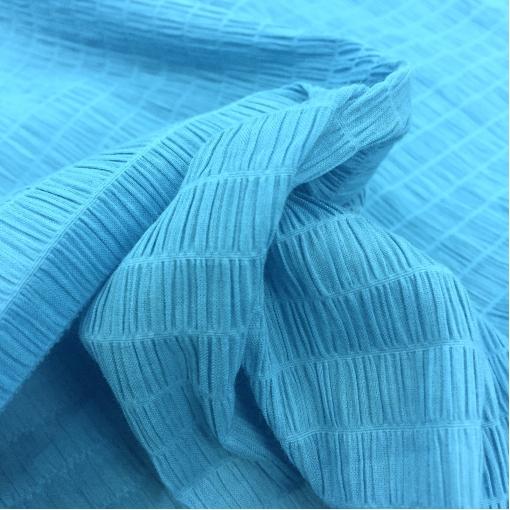 Хлопок блузочный стрейч крешированный  голубого цвета