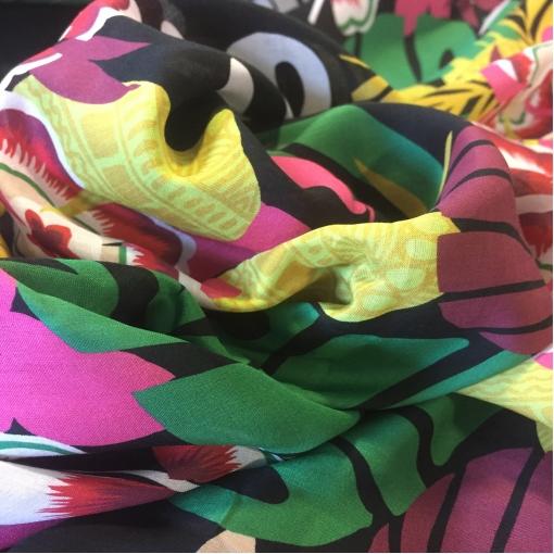 Батист хлопковый принт тропические цветы