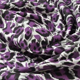 Костюмный хлопок стрейч фиолетовый леопард