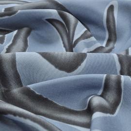 Хлопок рубашечный серо-голубой с серым геометрическим рисунком