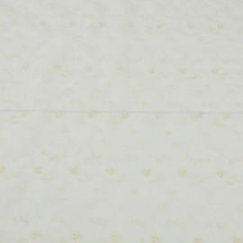 Молочный блузочно-плательный хлопок с вышивкой светло-желтыми нитками