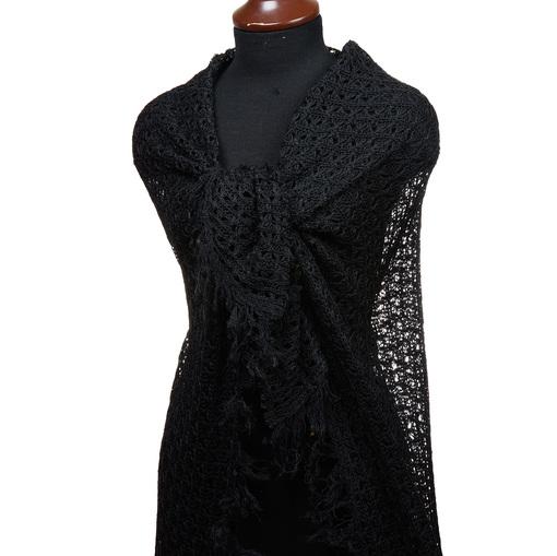 Плетеное кружево черного цвета с бахромой по краю