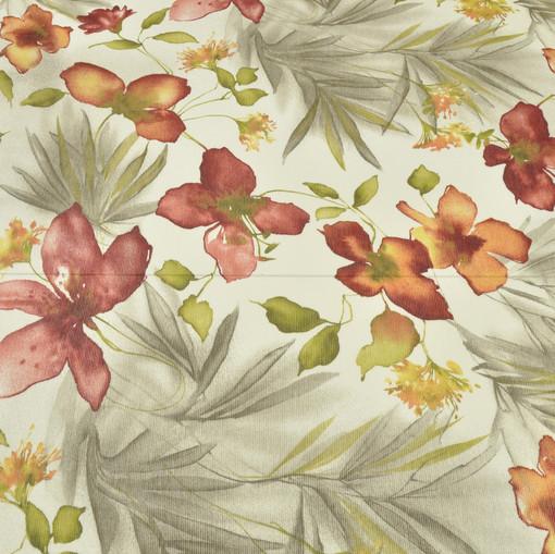 Вискоза блузочно-плательная с плетением поперечный рубчик бежевого цвета, с красными цветами