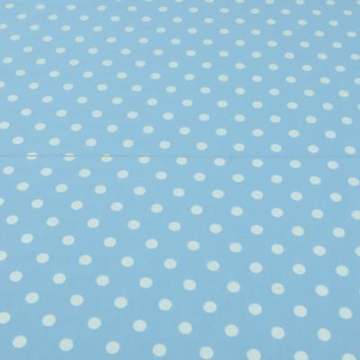 Трикотаж деворе цвета голубого неба с фактурными горошинами