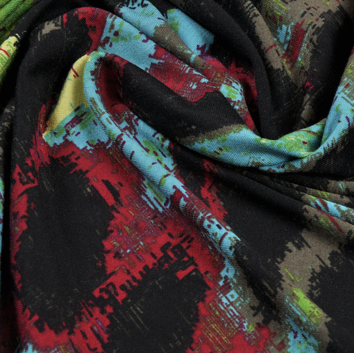 Вискозный трикотаж с пятнистым разноцветным рисунком