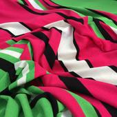 Трикотаж вискозный мягкий в зелено-малиновую полоску