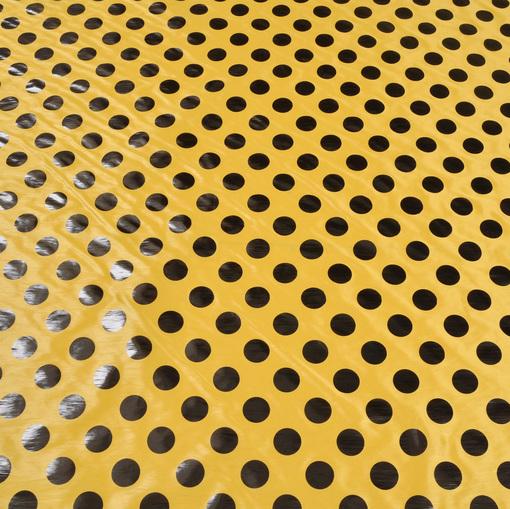 Тонкая плащевка желтого цвета с глянцевым крупным горохом