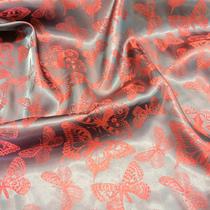 Подкладка жаккардовая 100% Купро бордово-свекольные бабочки