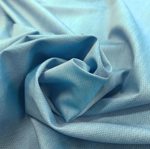 Хлопок рубашечный жаккардовый лазурно-голубого цвета