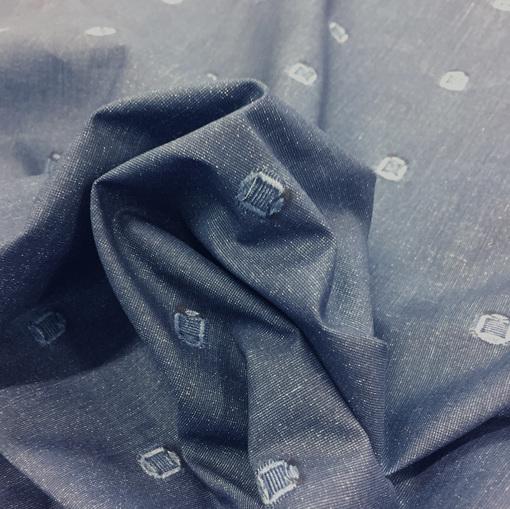 Хлопок рубашечный жаккардовый под джинсу с вышитыми кружками