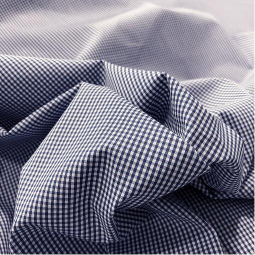Хлопок рубашечный стрейч Sportmax в мелкую синюю клеточку