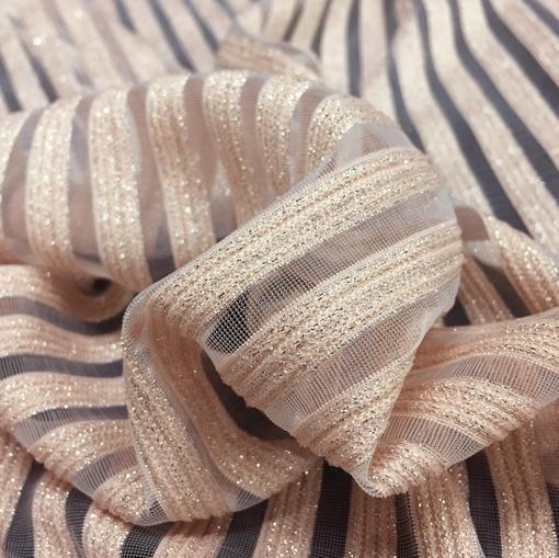 Ткань нарядна деворе Armani нежные лососевые полосы
