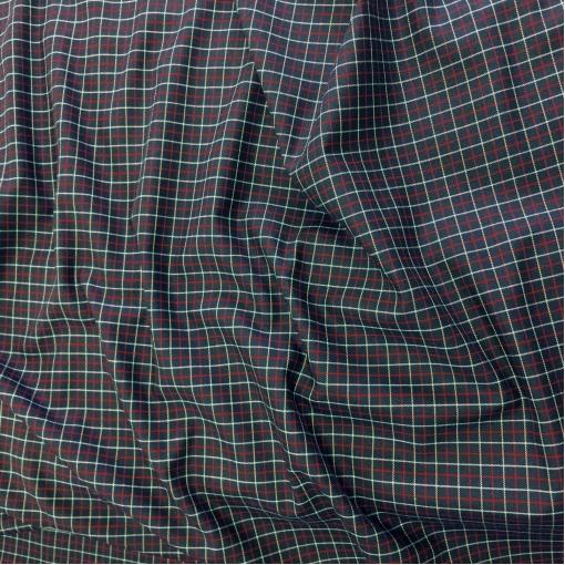 Ткань рубашечная принт Burberry клетка на темно-синем фоне