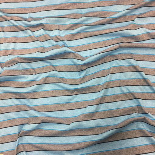 Трикотаж вискозный мягкий сине-голубые полосы