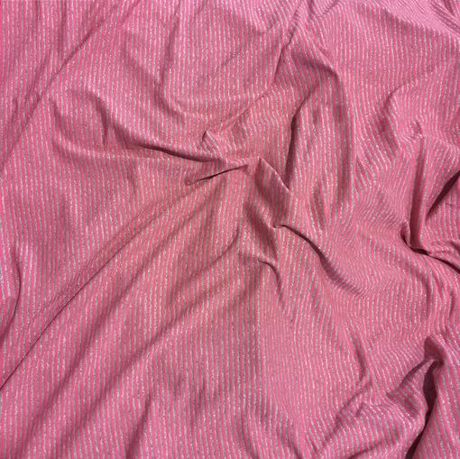 Трикотаж вискозный стрейч розовый в люрексовую полоску