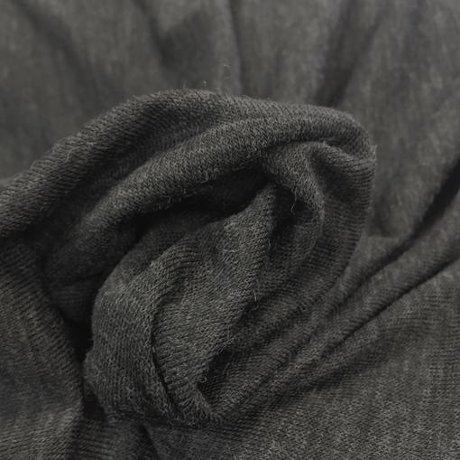 Трикотаж шерстяной тонкий темно-серый меланж