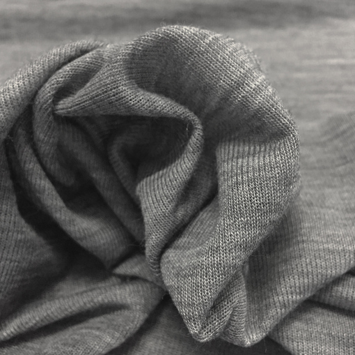 Трикотаж шерстяной тонкий средне-серый меланж