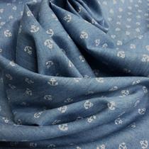 Хлопок рубашечный голубого цвета с якорями