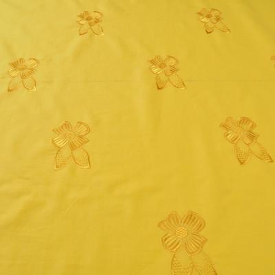 Вышитый хлопок желтого цвета с цветами