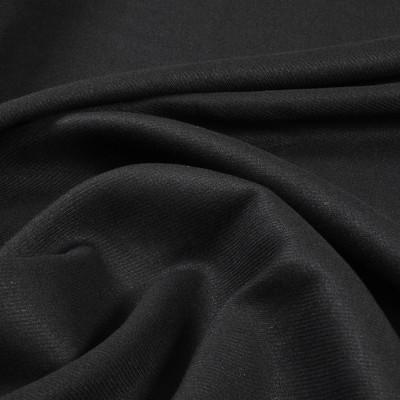 Лён стрейч черного цвета с диагональной выработкой