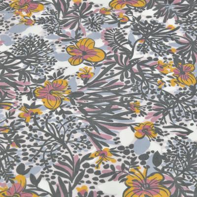 Муслин в сине-черных тонах с желтыми и грязно-розовыми цветами
