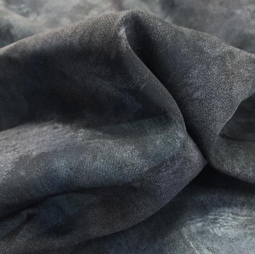 Хлопок с шёлком меланжевый в сине-черных тонах