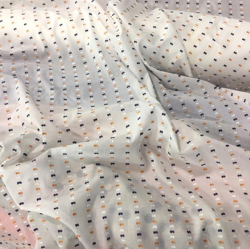 Хлопок рубашечный бантики принт Sportmax в сине-горчичных тонах