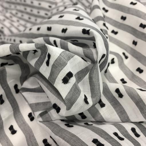 Хлопок рубашечный бантики и полосы принт Sportmax