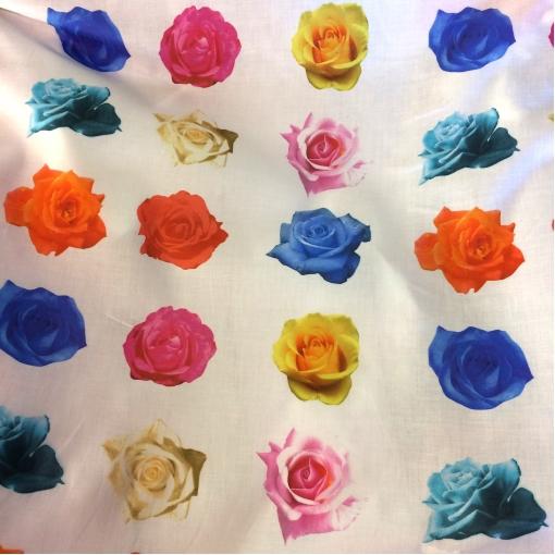 Хлопок тонкий принт разноцветные розы
