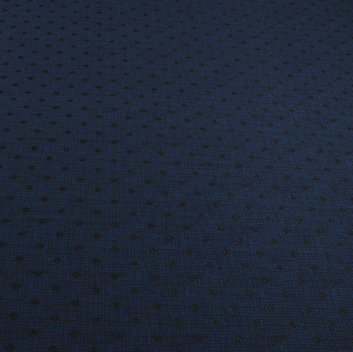 Темно-синий джерси стрейч с черным гороховым рисунком