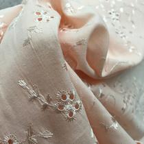 Батист розовый хлопковый с вышивкой