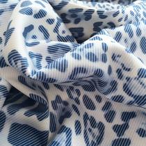 Хлопок стрейч принт синий леопард и диагональ
