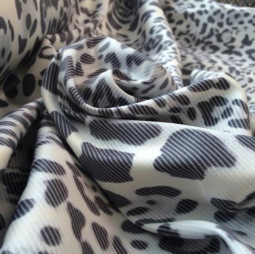 Хлопок стрейч принт серый леопард и диагональ