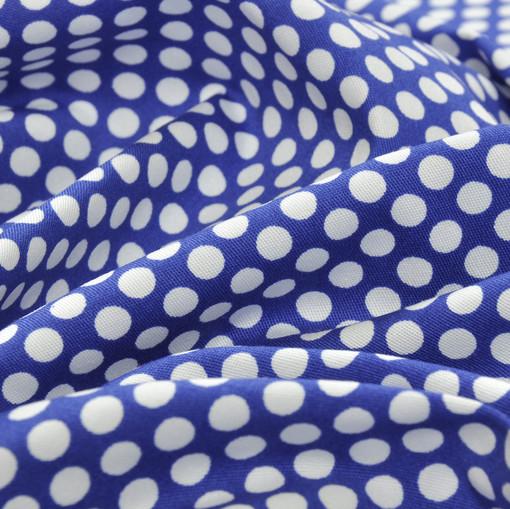 Хлопок костюмно-плательный белые горошки на синем фоне