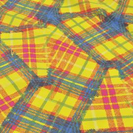 Хлопок рубашечный ярко-желтого цвета в неправильную клетку