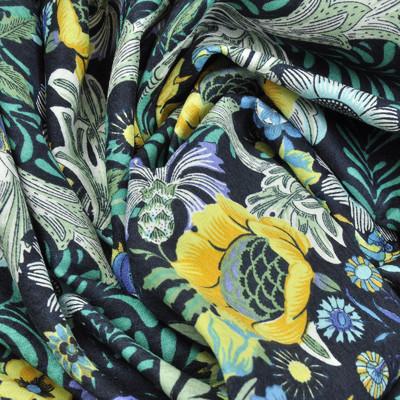 Хлопок костюмно-плательный темно-синий в желтые и голубые цветы