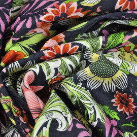 Хлопок костюмно-плательный черный в коралловые, желтые, салатовые цветы