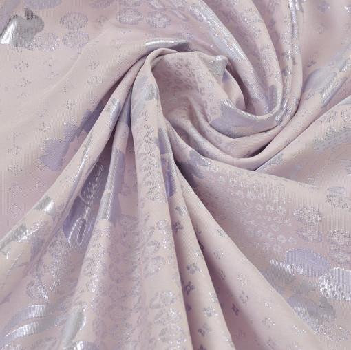 Серебряно-розовый двусторонний итальянский жаккард